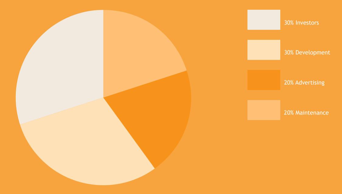 1. 30% Инвесторам (то есть нам) 2. 30% Разработчикам 3. Реклама 4. Оборудование